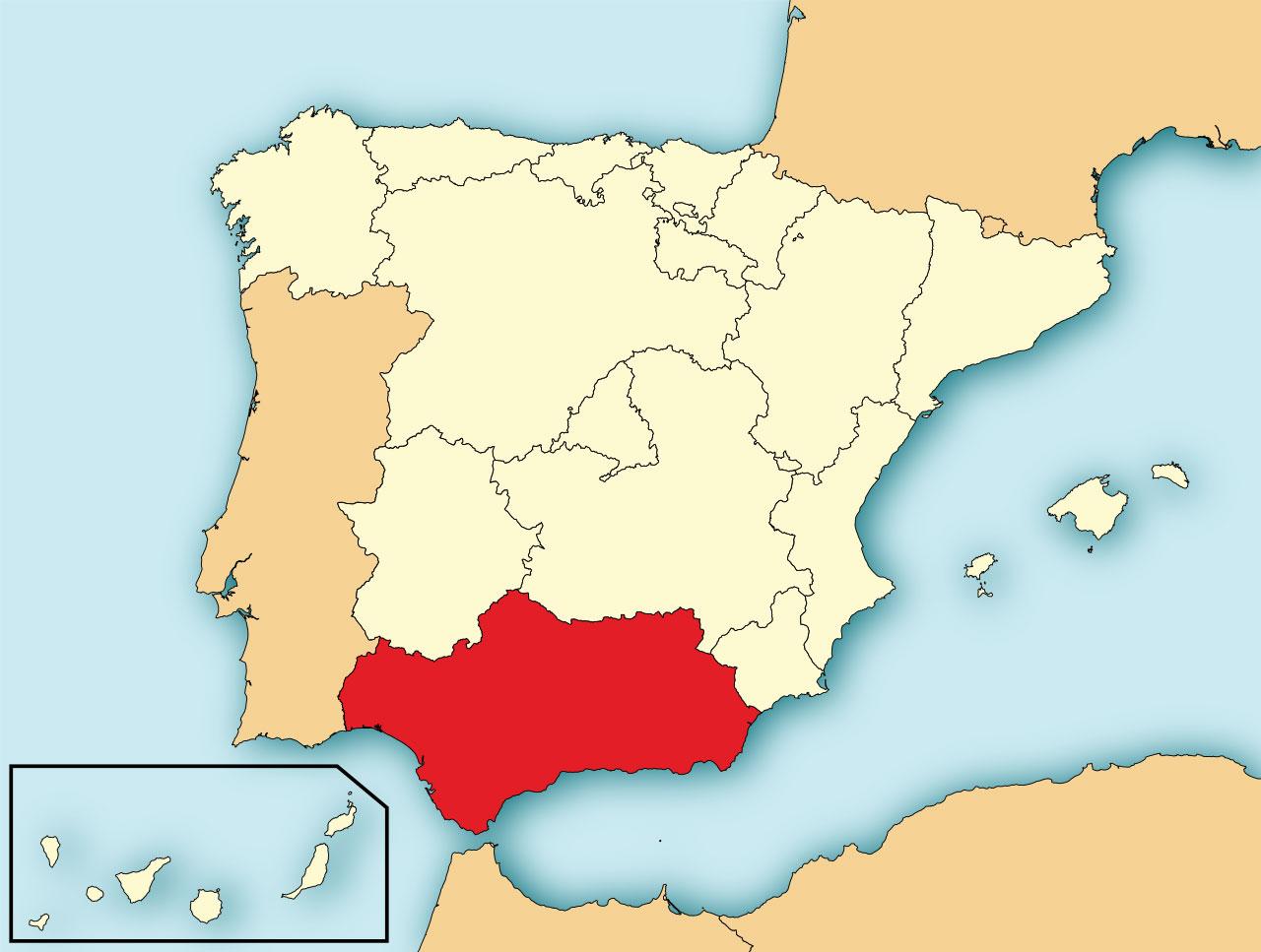 Locatie van Andalusie op de kaart