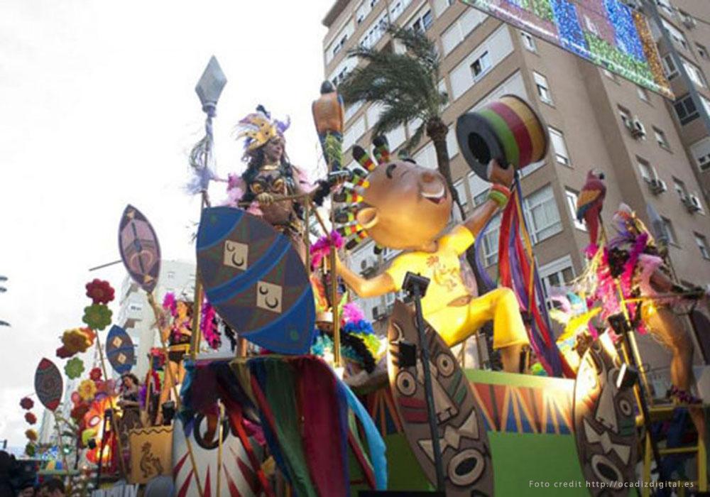 Optocht tijdens carnaval in Cadiz